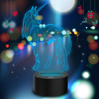 LED Night Light 7 Colors Changing Bedroom Decoration Unicorn Decor Lamp USB Charging Halloween Christmas Atmosphere Light FZ