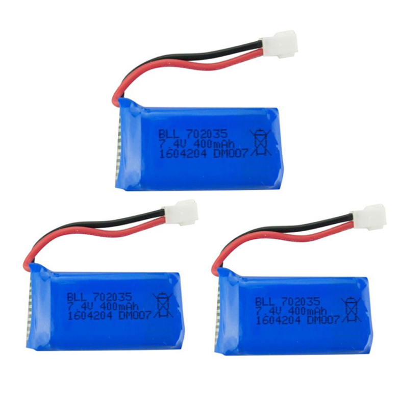 <font><b>Battery</b></font> 3Pcs Upgraded <font><b>7.4V</b></font> <font><b>400mAh</b></font> <font><b>Lipo</b></font> <font><b>Battery</b></font> <font><b>7.4V</b></font> 2S for DM007 RC Quadcopter Part image