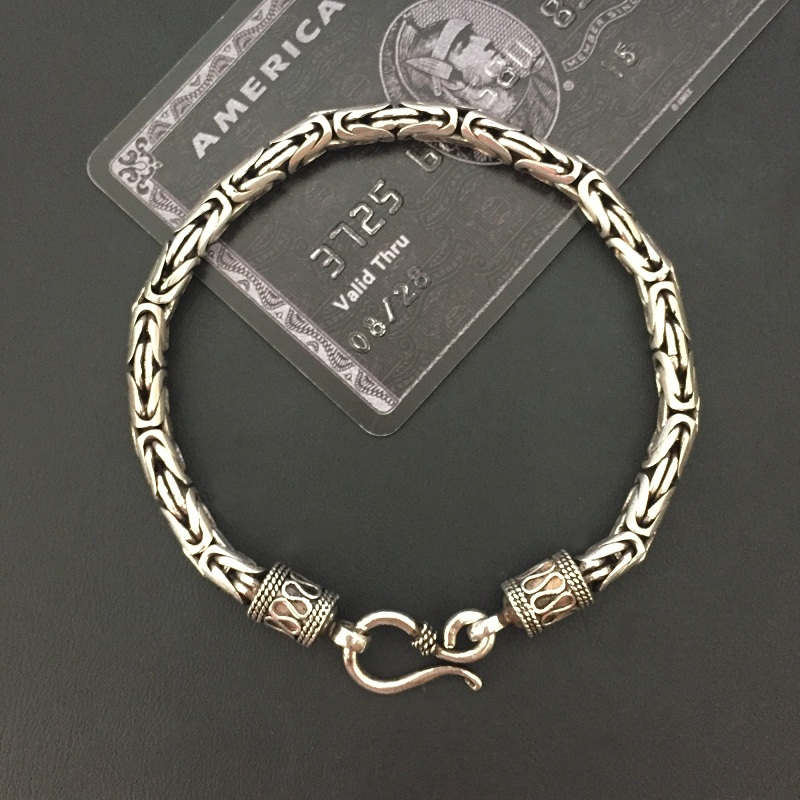 Solid ilver 925 Byzantine Chain Bracelet Men Vintage Simple Design Dia 5mm 100% Real 925 Sterling Silver Cool Mens Jewelry Gifts-in Chain & Link Bracelets from Jewelry & Accessories    1