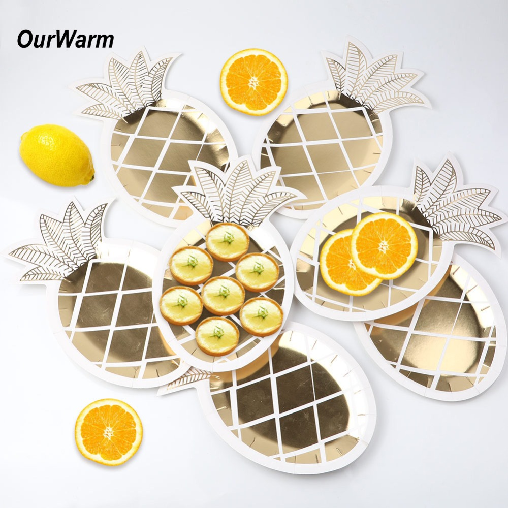 OurWarm 8pcs Hawaiian Pineapple Party Paper Plate Cake Dish ...