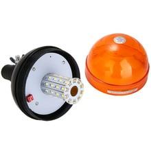 цена на Mayitr 12V/24V 12W 40LED Car Emergency Warning Flash Strobe Rotating Beacon Light Lamp Amber Car Styling