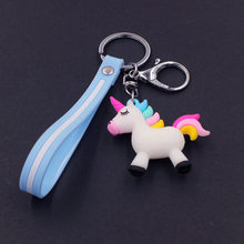 2019 Fancy&Fantasy Hot Sale Cute Unicorn Keychain Animal PVC Keychains Women Bag Charm Key Ring Pendant Gifts High Quality(China)