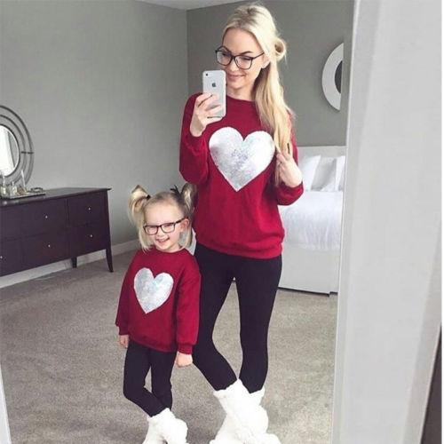 2018 Marke Familie Passenden Outfits Mutter Und Tochter Liebe Herz Sweatshirt Pullover Jumper Langarm Tops Hoodie