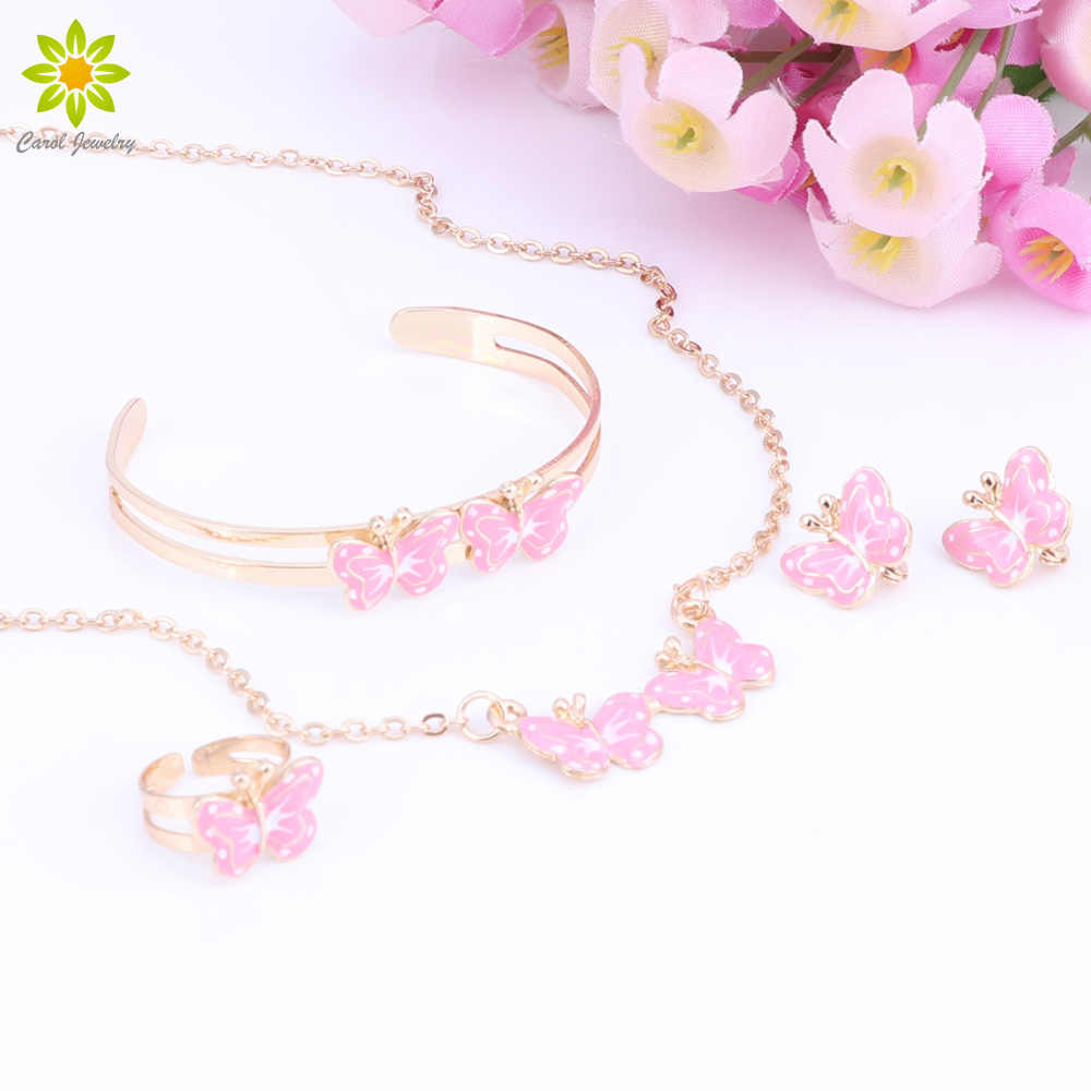 2018 Gold Color Lovely butterfly Children Jewelry Baby Jewelry Sets Kids Necklace Bracelet Earrings Ring Set 8Color