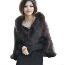 HARPPIHOP New Genuine Knit Mink Fur Shawl Poncho With Fox Trimming Real Jacket Fashion Women 2016 Style Coat