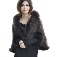 HARPPIHOP New Genuine Knit Mink Fur Shawl Poncho With Fox Trimming Real Mink Fur Jacket Fashion Women 2016 Style Mink Fur Coat