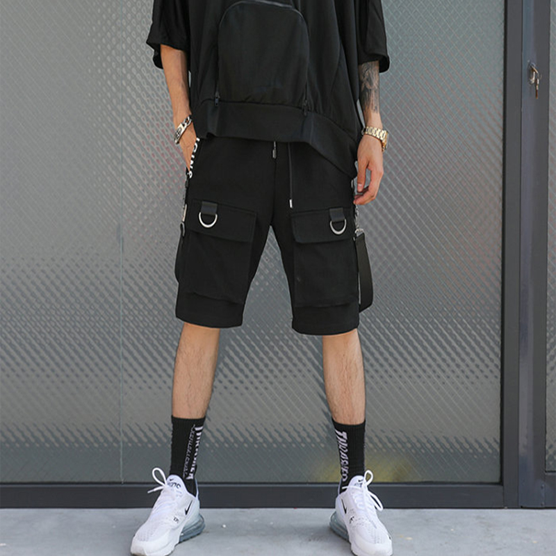 2019 Hip Hop Summer Men's Black Ribbons Streetwear Bermuda Zipper Pockets Shorts Male Punk Casual Knee Length Short SweatPants