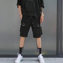 2019 Hip Hop Summer Men's Black Ribbons Streetwear Bermuda Zipper Pockets