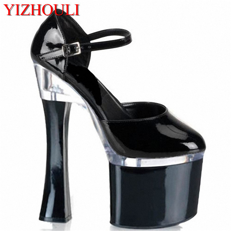 18cm Fashion sexy baotou super high heels Runway show style high heel shoes black patent leather shoes of the lacquer that bake summer high heeled shoes new packets of foreign trade big yards for women s shoes sandals of the lacquer that bake