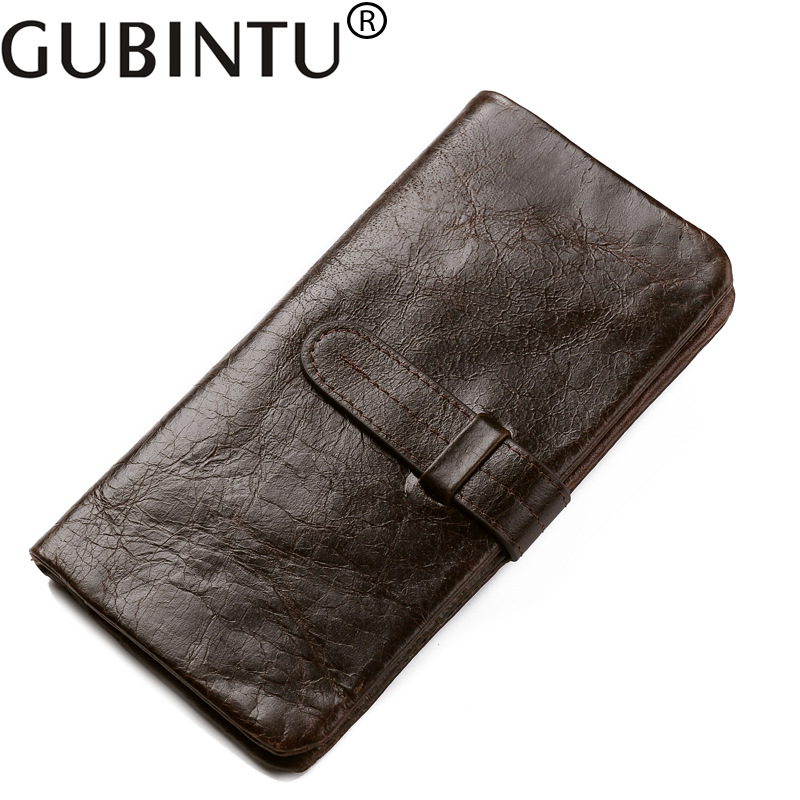 GUBINTU Genuine Cowhide Leather Men Wallets Fashion Vintage Purse With Card Holder Vintage Long Wallet Clutch Wrist Bag for Men genuine crazy horse cowhide leather men wallets fashion purse with card holder vintage long wallet clutch bag coin purse tw1648