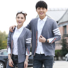 Venda quente de manga longa primavera outono amante casal lã blusas tb estilo marca nova marca masculina malha cardigan camisola moda topo
