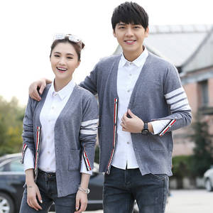 Wool Sweaters Knitted Cardigan Couple Long-Sleeve Tb-Style Autumn Women Brand-New Lover