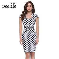 VEEKLE Polka Dots Plaid Carino Abito Senza Maniche Bianco Blu Rosso Breve Pin Up Kleider Ragazza Sottile Aderente Dressses Veste Femme 4 Colori
