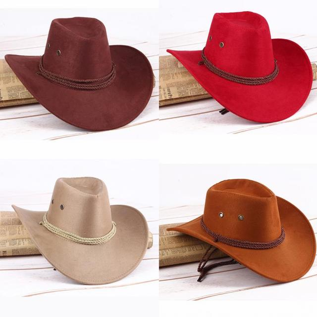 19b24d1400a24e Outdoor Artificial Leather Hat Wide Edge Western Fishing Hat-in ...