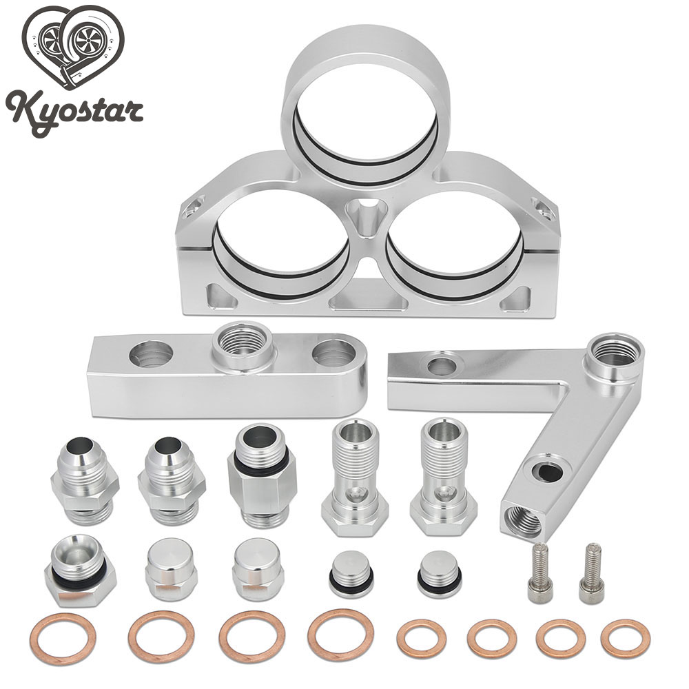 Kyostar Universal Aluminum Twin 044 Fuel Pump + Fuel Filter Manifold Cradle Assembly KIT Fuel Filter Tube