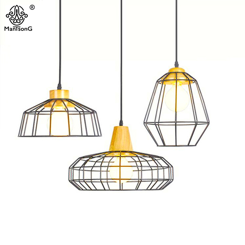 Modern Nordic Style Designer Pendant Light Creative Kitchen Iron Wooden Pendant Lamp Fixture for Dining Room Home Decor Lighting nordic modern 6 arm pendant light creative stainless steel hanging lamps lifting rod foliving room dining room lamp home decor