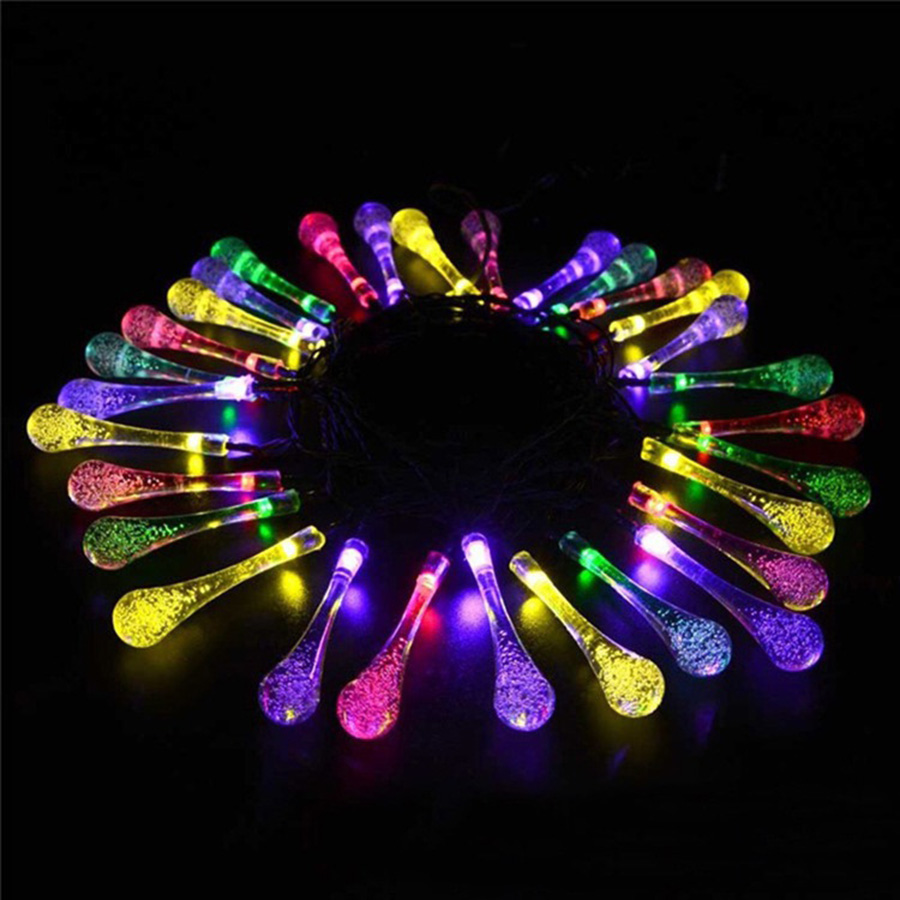 Dcloud 30 LED Water Drop Solar Powered String Lights LED Fairy Light for Wedding Christmas Party Festival Indoor Decoration