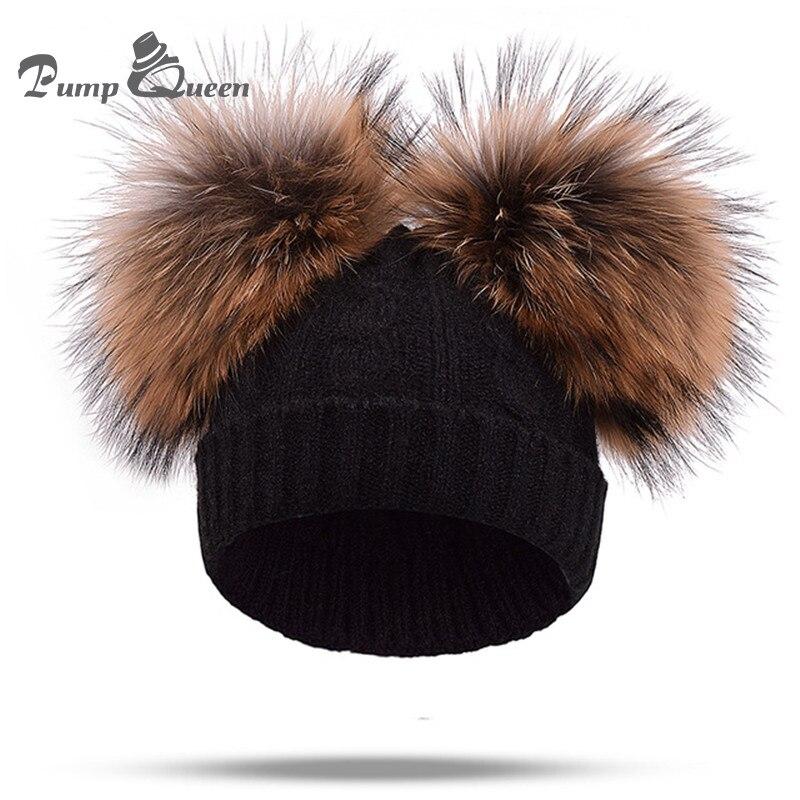 2018 New Real Mink Fur Pompom Hat Women Winter Cap Knitted Wool Hat Two Pom Poms   Skullies     Beanies   Bonnet Female Cap Adult Kids