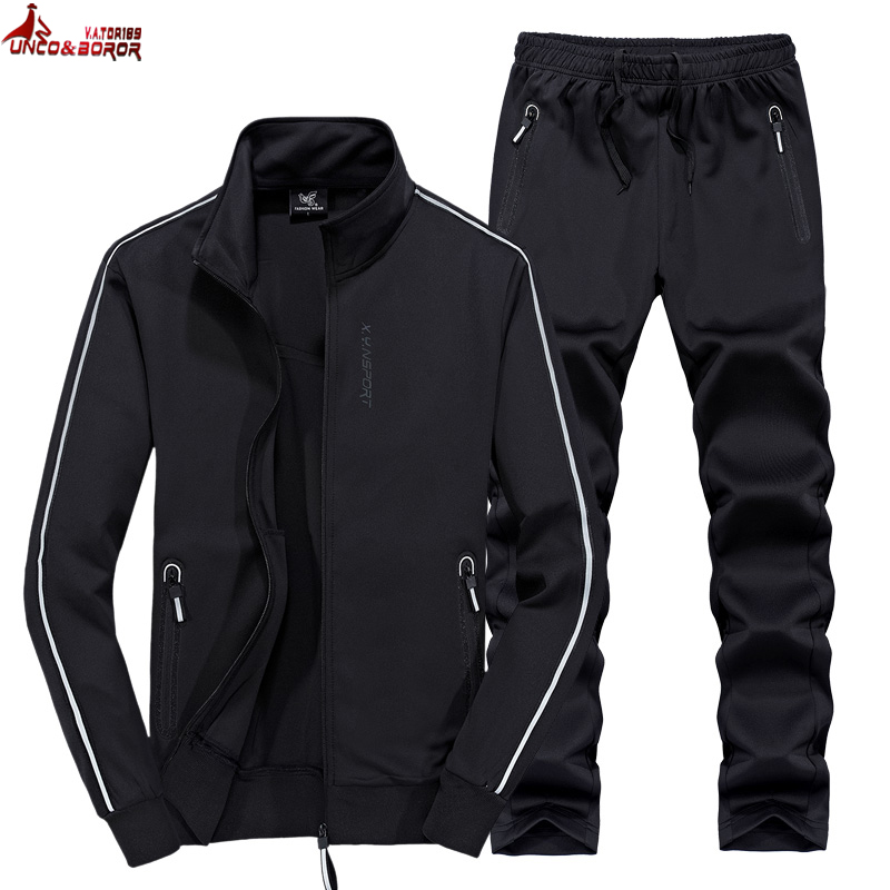 Autumn winter Men`s sets sportswear Tracksuit jackets + Pants Men Casual gym jogger Sporting Suits 6XL 7XL 8XL track suit men