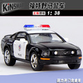 Candice guo alloy car model 1:38 Ford mustang police man plastic motor pull back collection toy birthday gift christmas present