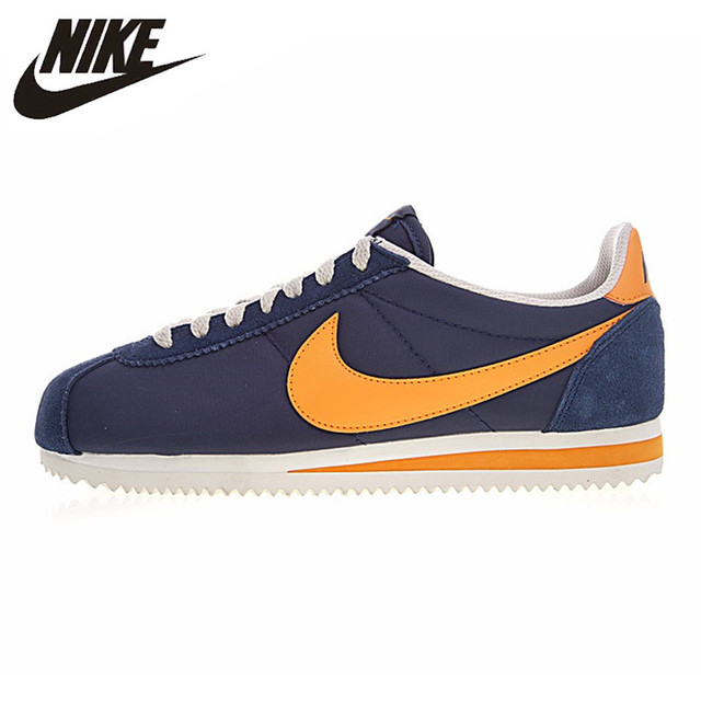 sports shoes 76416 8724d Nike CLASSIC CORTEZ NYLON Men s Running Shoes, Navy Blue   Orange,  Lightweight Wear-
