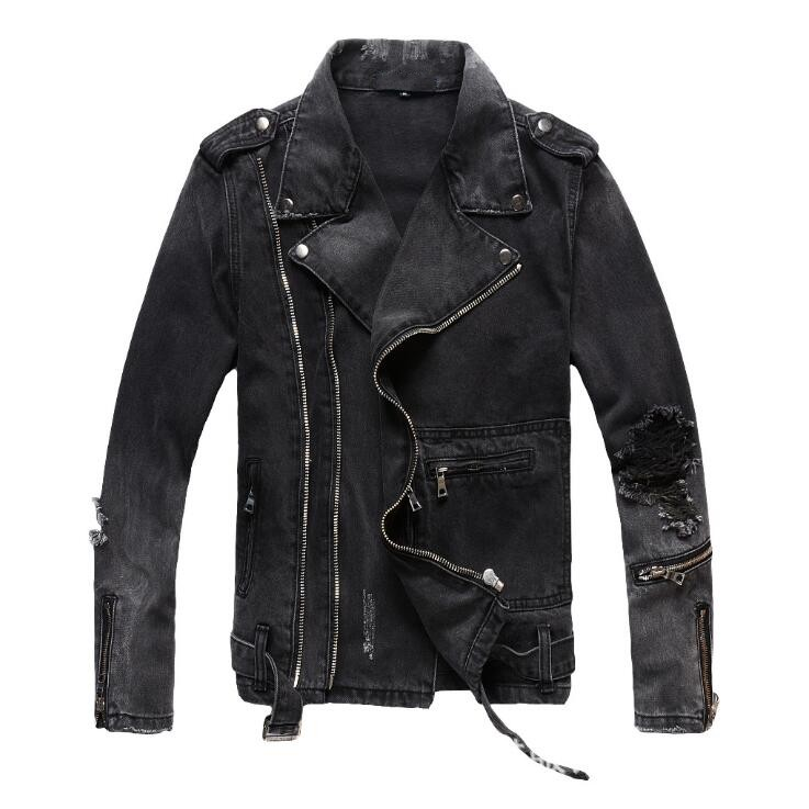 Hot New Autumn winter tide men Black grey hole slim denim jacket youth diagonal zipper Coat male Motorcycle jackets M 4XL