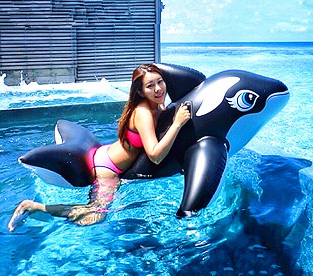 ФОТО 193*119CM Inflatable Floating Row PVC Air Mattress Big Black Whale Mounts Adult Beach Water Toy