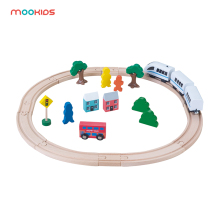 Mookids Wooden Track Train Set Toy Railway Magic Brio Wood Puzzles educational Toys for Kids parent-child interaction