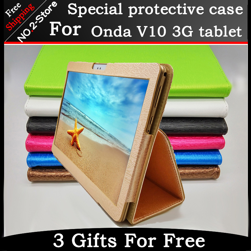 Fashion 2 fold Folio PU leather stand cover case for Onda V10 3G/4G call phone 10.1inch tablet pc Multi-color optional+gift