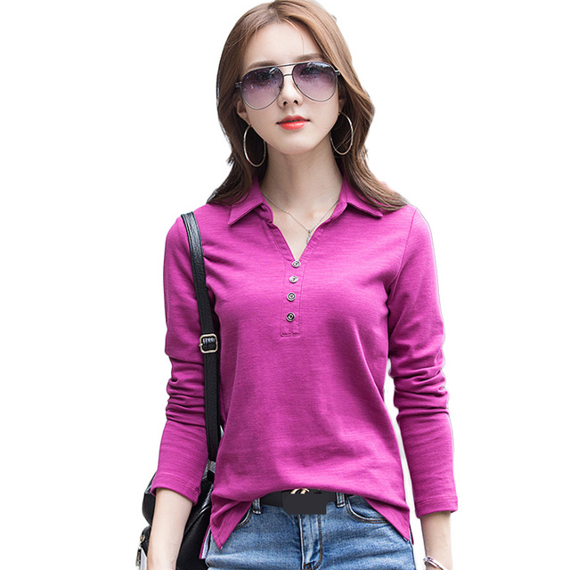 4227f242ce8a1 New Fashion Winter Women Polo Shirts Solid Cotton Black White Plus Size  Women Long Sleeve Polos Shirt Tops 2019 Spring Ladies