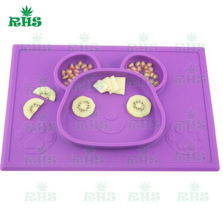 Self Suction Սննդի դասարան Silicone Baby Placemat Plate - - Պահեստավորման եւ կազմակերպումը ի տան - Լուսանկար 3