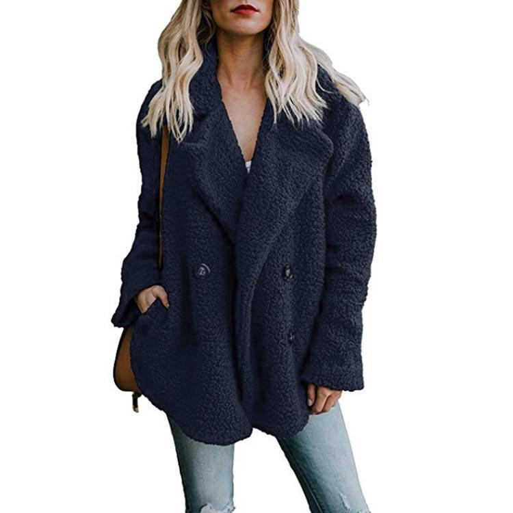 Women winter jacket 2019 fashion new double-breasted sweaters lapel loose fur jacket women outwear women coat ladies jacket