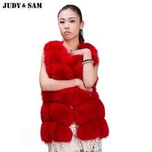 Top Quality Blue Fox Fur Vest Vintage Real Fur Coats for Women