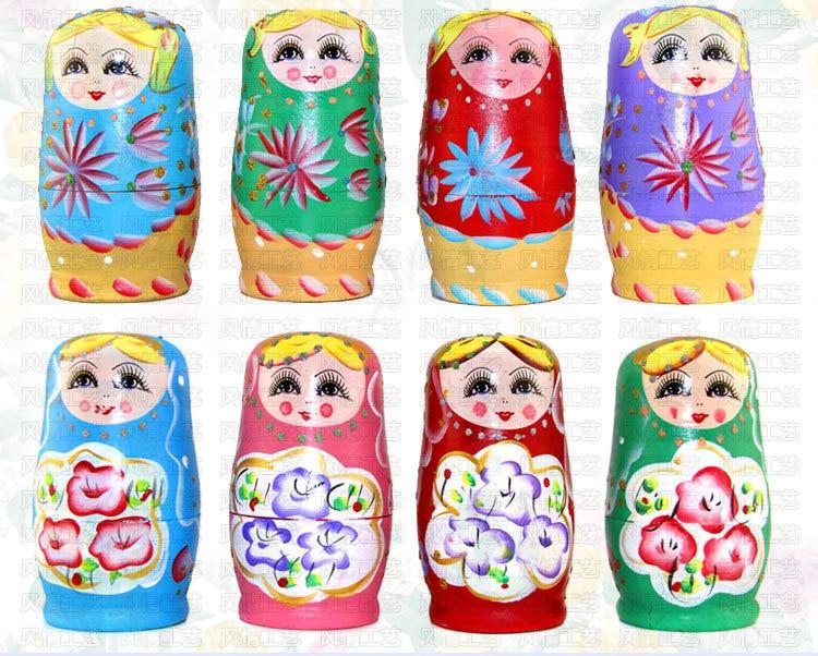 5PCS Hand Painted Girls Wooden Russian Nesting Dolls Matryoshka Babushka