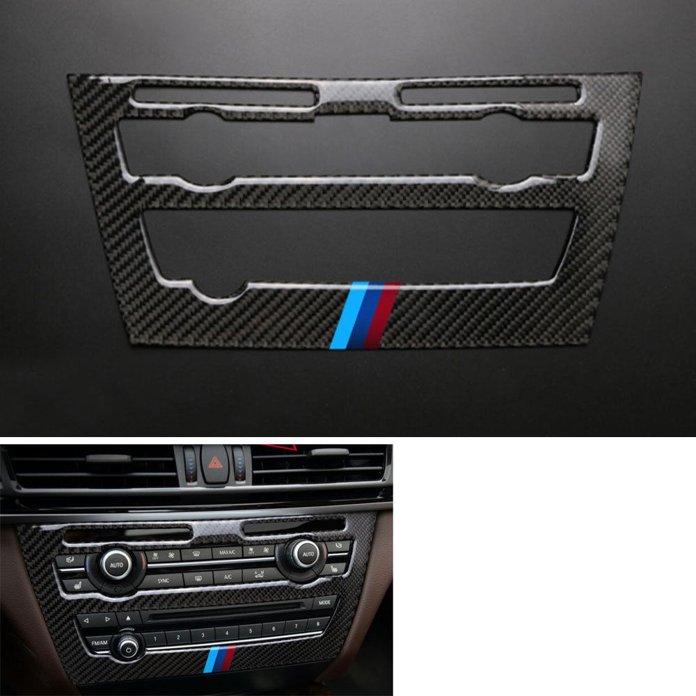 Carbon Fiber Car Inner Console CD Panel Decoration Cover Trim Sticker For BMW X6 F16 2015-2017 Car Styling for nissan r35 gtr carbon fiber door mirror inner panel trinagle