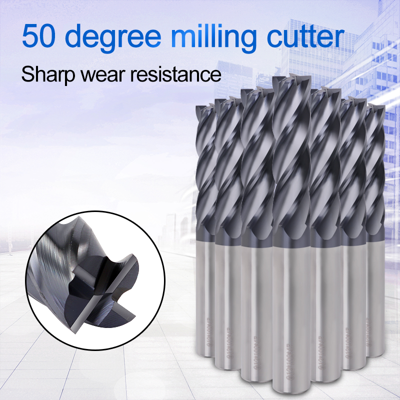 Cutter HRC50 4 Flute Router Bit Alloy Carbide Tungsten Steel Milling Cutter End Mill 4mm 6mm 8mm 10mm Metal Cutter Milling Tools