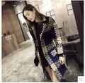 Европа новейшие женщин мода зимнее пальто больших ярдов чехол зерна средней длины свободно теплое пальто высокое качество шерстяное женщины D-0458