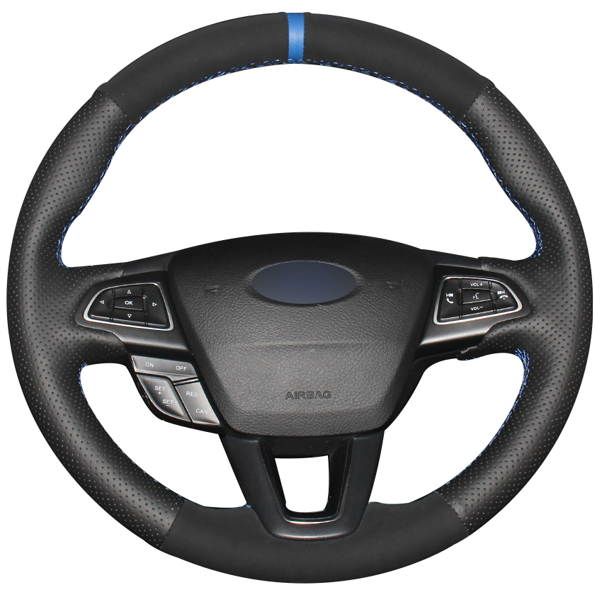 Black Natural Leather Black Suede Blue Marker Steering Wheel Cover for Ford Focus 3 2015 2018