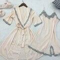 Moda Elegante de Satén de Seda ropa de Dormir 2 unids Bata Camisón Sets Mujeres Sexy V Cuello de Encaje Pijamas Ropa de Dormir Pijama Femeninos Trajes