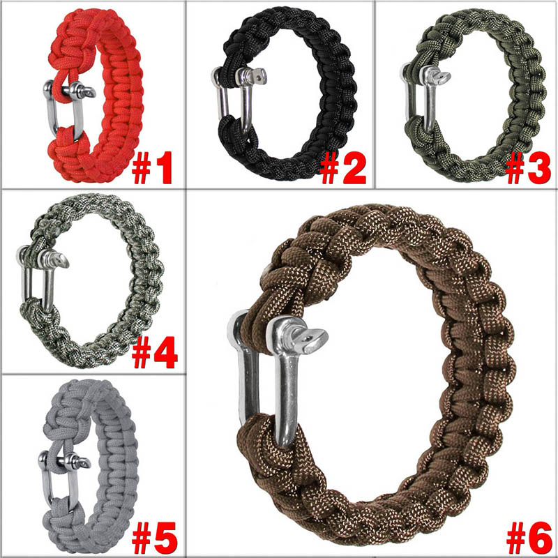 Hot Sale U Shap Steel Buckle Parachute Cord Rope Bracelets Emergency Lifeline Outdoor Self Defense Military Survival Equipment