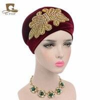 5 unidades/Al Por Mayor Nueva Moda Mujeres Gorgeous Joyería Cristalina Larga de Terciopelo Pañuelo en La Cabeza Hijab del Turbante Head Wrap Turbante
