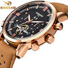 BINSSAW 2017 New Men Automatic Mechanical Watch Big Dial Waterproof Small Leather Multi Functional Sports Watches