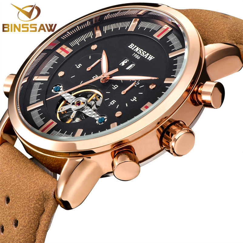 BINSSAW 2017 New Men Tourbillon Automatic Mechanical Watch Big Waterproof Small Leather Military Sports Watches Luxury Top Brand