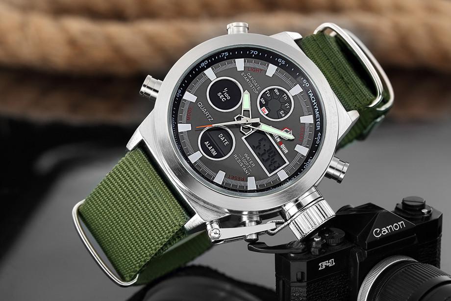 HTB187ghNXXXXXcsXFXXq6xXFXXXT - GOLDENHOUR Nylon Strap Sport Watch for Men