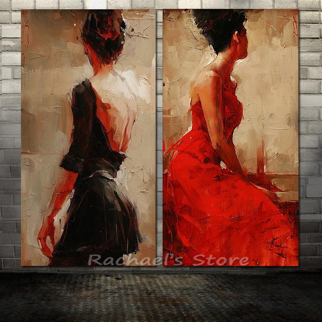 hand painted modern sexy woman in red black dress oil
