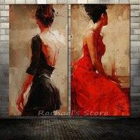 Peint à La main Moderne Sexy Femme en rouge noir robe Peinture À L'huile sur Toile Moderne Figure Sexy Fille Mur Photo Salon Décor