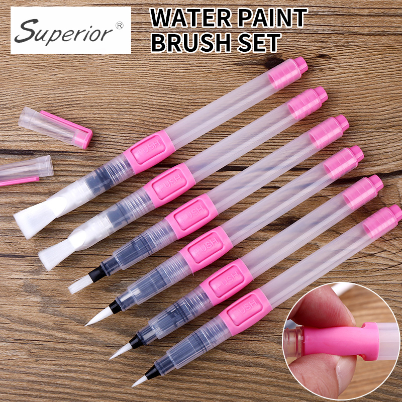 6Pcs Water Brush Water Paint Brush Set Large Capacity Soft Watercolor Painting Brush Pen For Beginner Drawing Art Supplies brocade water write cloth suit thick imitation xuan paper adult beginner entry water write brush pen posts dd1303