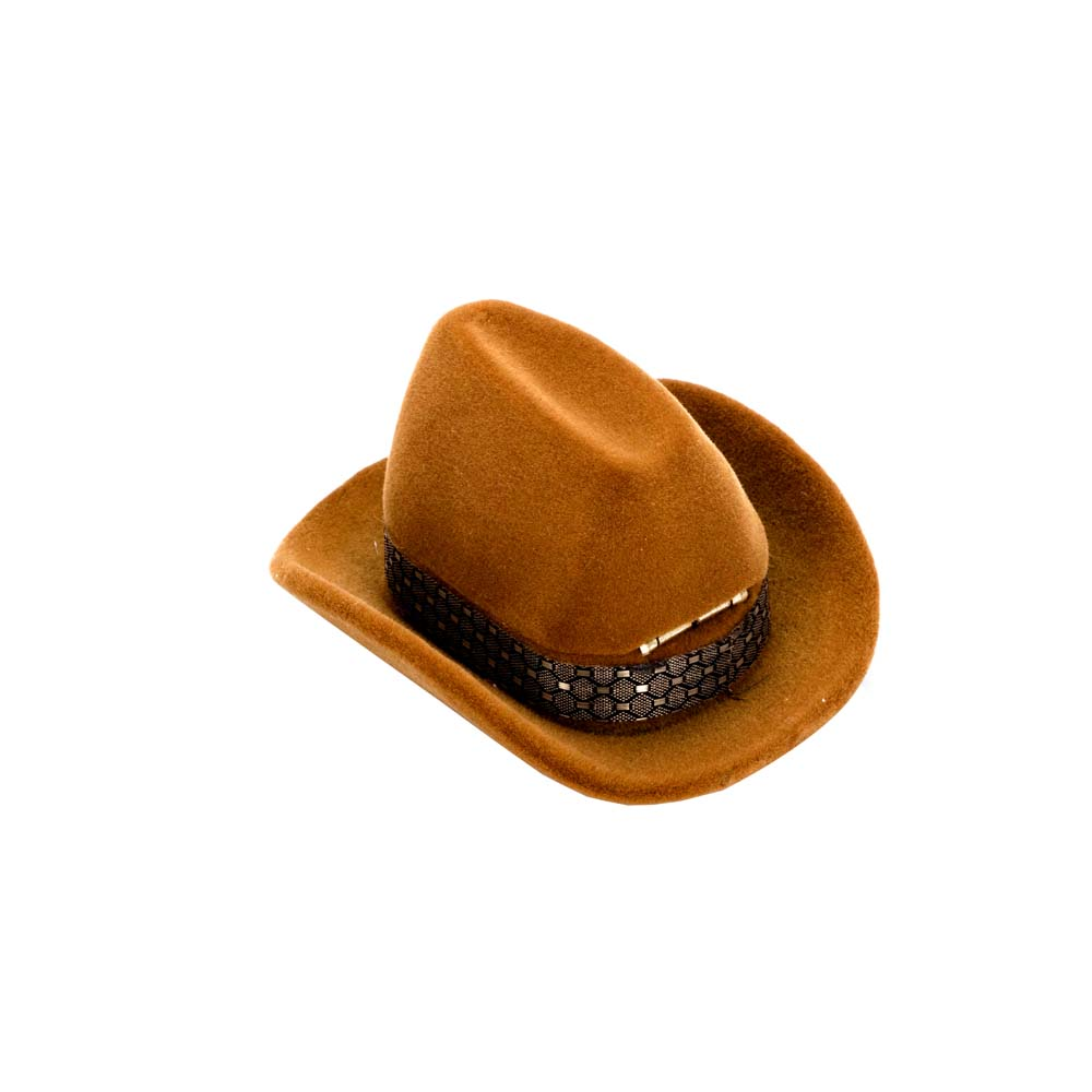 Fashion Creative Cowboy Hat Shape Brown Velvet Rings Boxes Jewelry Ring  Holder Display Storage Case -in Jewelry Packaging   Display from Jewelry ... 6160b60c2ba
