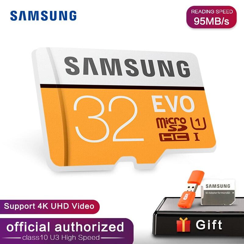 Samsung EVO 32GB 64G 128G SDHC GPS Carte mémoire C10 32GB SDXC EVO Cartao SD Smartphone mémoire Flash Carte de réduction