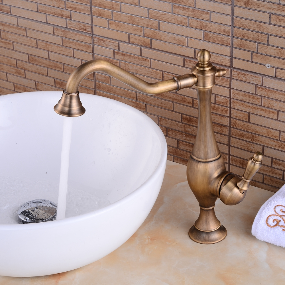 Antique Bronze Basin Faucets Brass Bathroom Sink Faucets Swivel Dual Handle Hot Cold Washbasin Bath Mixer